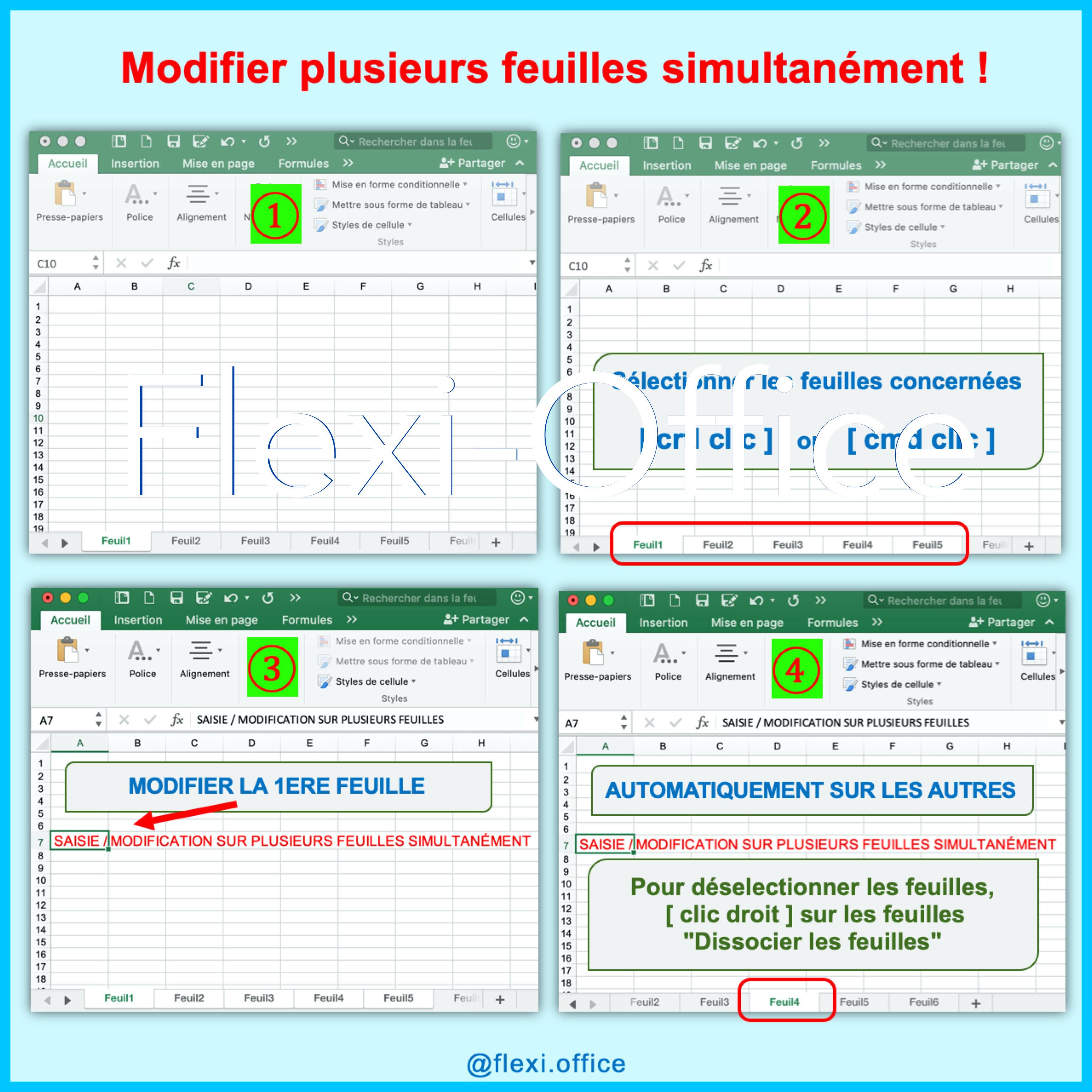 Excel modifier plusieurs feuilles simultanément